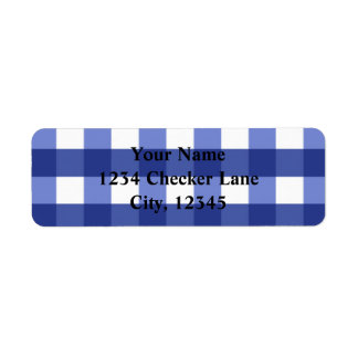 Blue Gingham Summer Country BBQ Checker Label