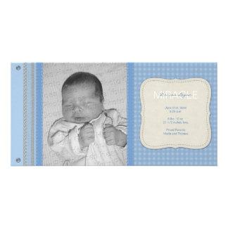 Blue Gingham Vintage Birth Announcement Custom Photo Card