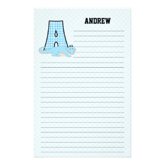 Blue Gingham with Letter A for Boys Stationery Paper