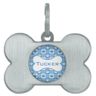 Blue Gingham with Paws and Bone Pet Name Tag