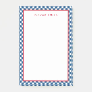 Blue Gingham with Red Border Post-it Notes