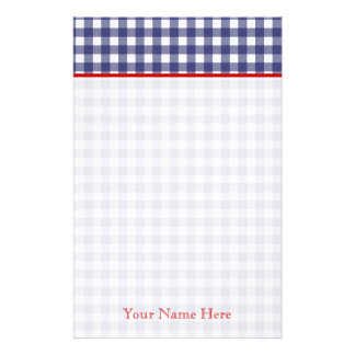 Blue Gingham With Red Personalized Stationery