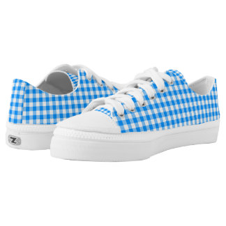 Blue Gingham ZipZ Tennis Shoes