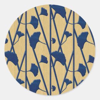 blue ginkgo round sticker