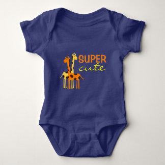 Blue Giraffe Animal Super Cute Baby Bodysuit