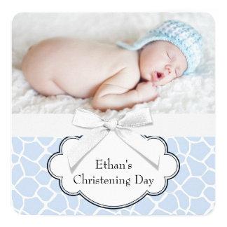 Blue Giraffe Christening Card