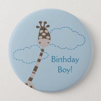 Blue Giraffe Personalized Birthday Button