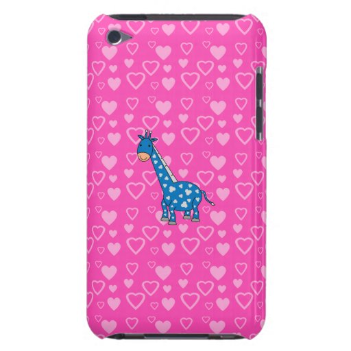 Blue giraffe pink hearts barely there iPod covers