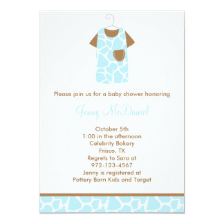 Blue Giraffe Print Baby Shower Invitations