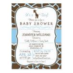 Blue Giraffe Print Boy Baby Shower Invitation Postcards