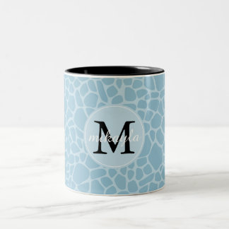 Blue Giraffe Print Monogram Two-Tone Coffee Mug