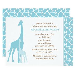 Blue Giraffes Boy Baby Shower 13 Cm X 18 Cm Invitation Card