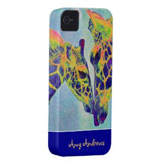 blue giraffes iphone case- personalizable iPhone 4 case