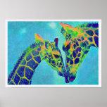 blue giraffes poster