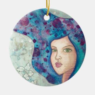 Blue girl portrait. Long hair. Whimsical painting. Ceramic Ornament