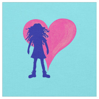 Blue girl with long curly hair and big heart fabric