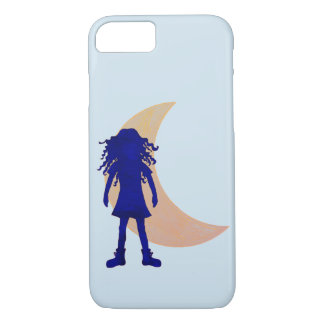 Blue girl with long curly hair and the Moon iPhone 8/7 Case