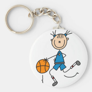 Blue Girls Basketball Tshirts and Gifts Basic Round Button Key Ring