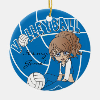 Blue Girly Volleyball Christmas Tree Ornament