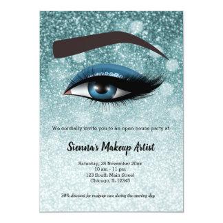 Blue  glam lashes eyes | makeup artist card