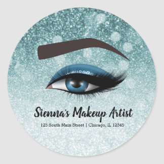 Blue glam lashes eyes | makeup artist classic round sticker