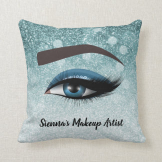Blue glam lashes eyes | makeup artist cushion