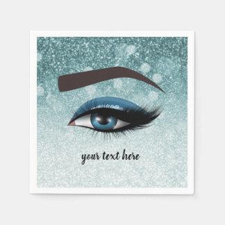 Blue glam lashes eyes | makeup artist disposable napkin