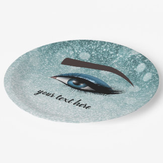 Blue glam lashes eyes | makeup artist paper plate