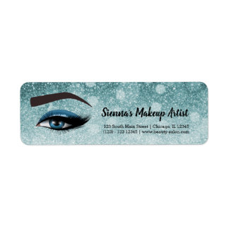 Blue glam lashes eyes | makeup artist return address label