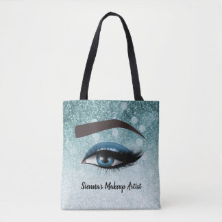 Blue glam lashes eyes | makeup artist tote bag