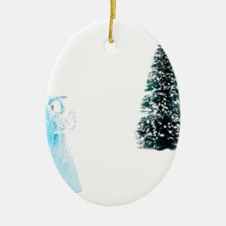 Blue glass angel praying near christmas tree ceramic oval decoration