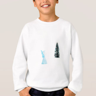 Blue glass angel praying near christmas tree sweatshirt