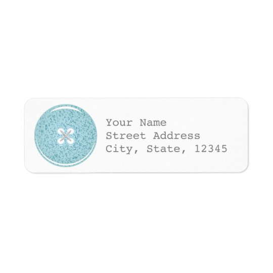 Blue Glass Button Address Label