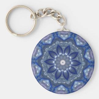 Blue Glass Kaleidoscope Basic Round Button Key Ring