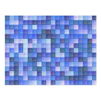 Blue Glass Mosaic Square Geometric Pattern Postcard
