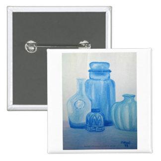 Blue Glass Still Life Button
