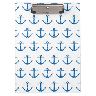Blue Glitter Anchor Pattern Clipboard