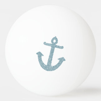 Blue Glitter Anchor Ping Pong Ball