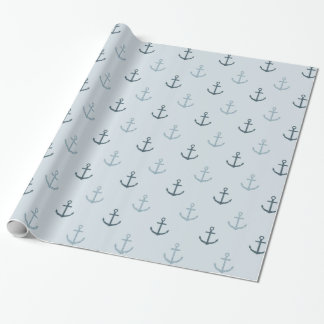 Blue Glitter Anchors Wrapping Paper