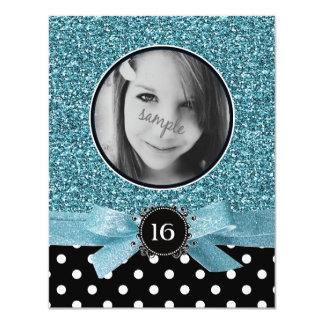 Blue Glitter and BW Polkadots Photo Sweet 16 11 Cm X 14 Cm Invitation Card