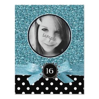 Blue Glitter and BW Polkadots Photo Sweet 16 Card