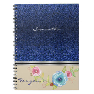Blue glitter And Colorful Floral Monogram Notebooks