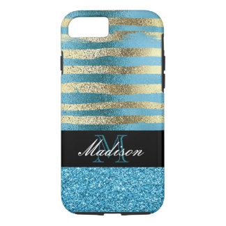 Blue Glitter and Gold Foil Trendy Modern Monogram iPhone 8/7 Case