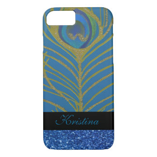 Blue Glitter and Gold Peacock Feather Pattern iPhone 7 Case