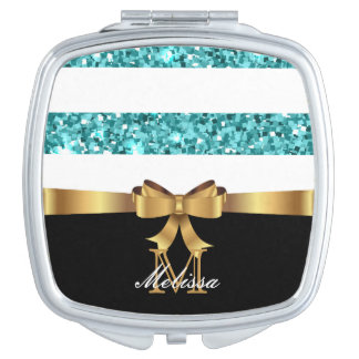 Blue  GLITTER  BLACK AND WHITE GOLDEN BOW MONOGRAM Makeup Mirrors