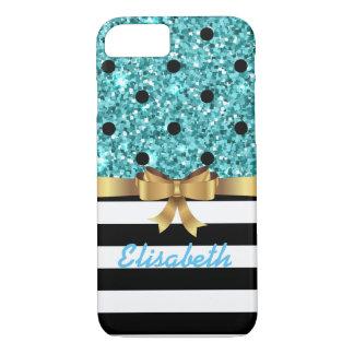 Blue GLITTER BLACk polka dot  GOLD BOW MONOGRAM iPhone 8/7 Case