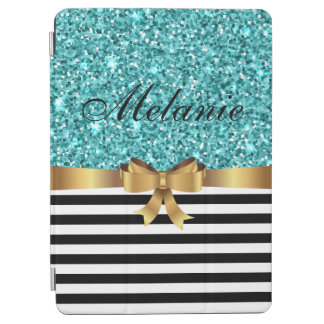Blue GLITTER BLACK white stripe GOLD BOW MONOGRAM iPad Air Cover
