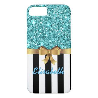 Blue GLITTER BLACK white vertical goldBOW MONOGRAM iPhone 8/7 Case