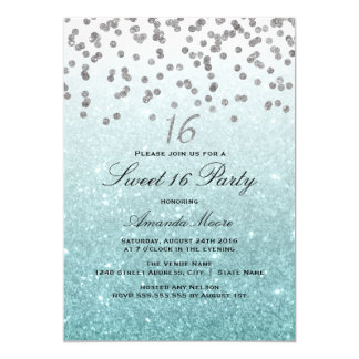 Blue Glitter Confetti Sweet 16 Invitation