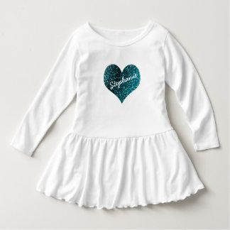 Blue Glitter Custom Name Ruffle Baby Shirt